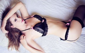 black bras, in bed, black panties, blue eyes, lying down, bra
