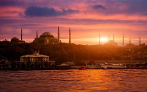 Istanbul, city, Turkey, Sultan Ahmed Mosque, cityscape, Bosphorus