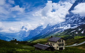 valley, snow, house, nature, clouds, landscape