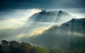 sunrise, nature, mountain, farm, sunbeams, mist