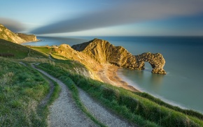 rock formation, cliff, path, rock, beach, Europe