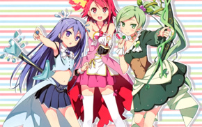 green hair, guitar, red eyes, Zettai Ryouiki, green eyes, anime girls