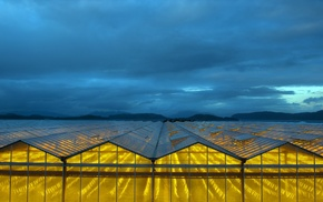 clouds, greenhouse, glass, yellow, landscape, hill
