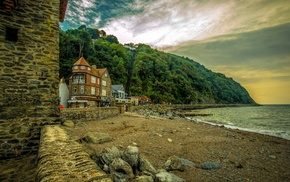 architecture, rock, sea, beach, trees, landscape