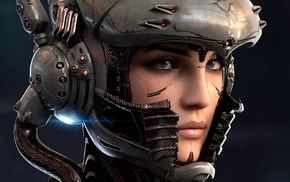 face, technology, girl, blue eyes, wires, helmet