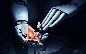 flowers, technology, butterfly, robot, hand, 3D