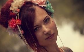 girl, face, freckles, redhead, piercing, model