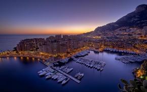 cityscape, boat, Monaco, city, sunset, ports