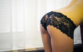 lingerie, panties, black panties, small panties, ass, lace