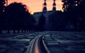 sunset, depth of field, tiles, street, architecture, lights