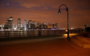 lights, building, fence, cityscape, clouds, water