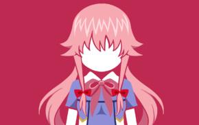 yandere, anime, Gasai Yuno, Mirai Nikki, minimalism, anime girls