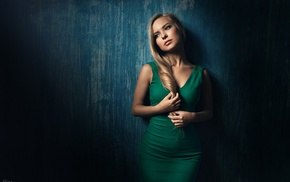 blonde, model, girl, walls, dress, green dress