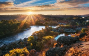 fall, Ukraine, shrubs, landscape, nature, river