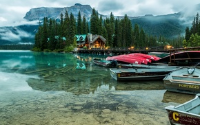 hotels, mist, lake, mountain, boat, nature