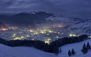 cityscape, Romania, evening, nature, winter, clouds