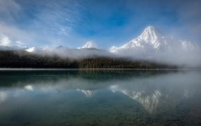 nature, clouds, morning, Canada, mist, snowy peak