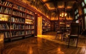 chair, library, shelves, lights, fisheye lens, books