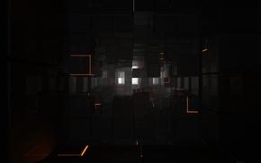black, simple, minimalism, 3D, orange, reflection