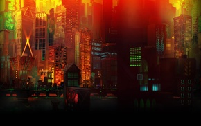 CGI, window, lights, digital art, Transistor, building