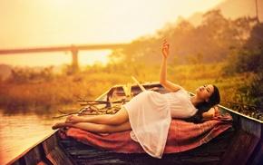 girl outdoors, plants, lying down, brunette, water, barefoot