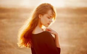 girl, orange, girl outdoors, sunlight, redhead, depth of field
