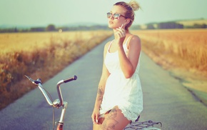 girl, girl with bikes, girl with glasses, model, cigars, tattoo