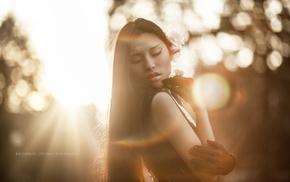 model, closed eyes, face, Asian, sunlight, portrait