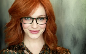 long hair, Christina Hendricks, redhead, girl, face, girl with glasses