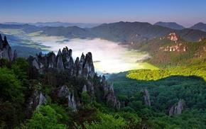 mountain, valley, nature, mist, village, rock