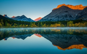 mountain, nature, forest, lake, landscape, trees