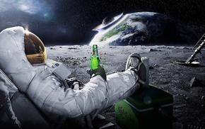 Carlsberg, astronaut, space, beer, Earth, meteors