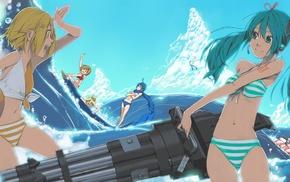 anime boys, Kagamine Rin, bikini, Vocaloid, Meiko, sea
