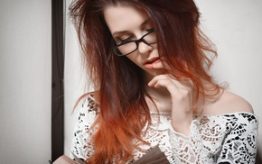 portrait, model, face, redhead, girl, girl with glasses