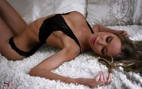 girl, model, black lingerie, blonde, arched back, flat belly