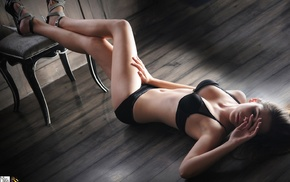 high heels, model, wooden surface, black lingerie, chair, girl