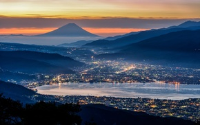 evening, valley, lights, mist, nature, mountain
