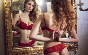 bra, curly hair, red bras, mirror, lingerie, red lingerie
