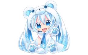Hatsune Miku, long hair, anime girls, chibi, Yuki Miku