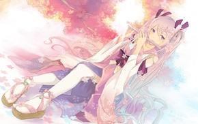 twintails, kimono, Vocaloid, flute, cherry trees, anime