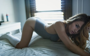 in bed, leotard, knee, highs, girl, one
