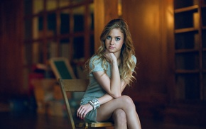blonde, girl, sitting, model