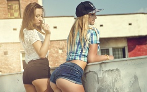 girl, Andrei Virtic, jean shorts, blonde, brunette, ass