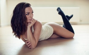 girl, stockings, tank top, hand on face, knee, highs