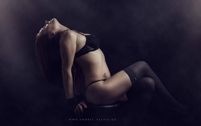 stockings, lingerie, model, girl, tattoo, black stockings