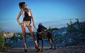 dog, Doberman Pinscher, girl, model, skinny, girl with glasses