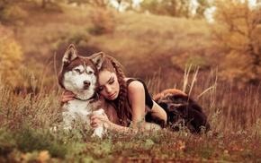 braids, girl, fur, nature, field, smoky eyes