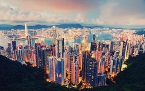 Hong Kong, clouds, lights, city, skyscraper, cityscape