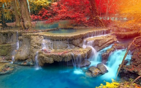 fall, waterfall, nature, trees, Thailand, tropical
