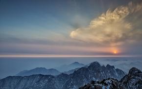 clouds, summit, snowy peak, sunset, mist, horizon